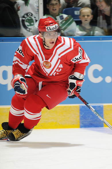 ALEXANDER OVECHKIN, the highest paid Russian in the National Hockey League, sports a retro jersey on opening day opposite Italy at the 2008 IIHF World Championships. Russia defeated Italy 7-1 on the way to their first IIHF WC title since 1993.