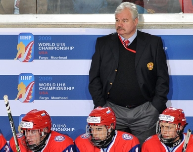 VLADIMIR PLYUSHCHEV behind the bench for silver medalist Russia at last winter's U-18 World Championships.
