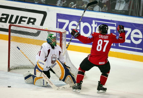 Canadas SIDNEY CROSBY Reacts To His Goal Versus SERGEJS NAUMOVS And Latvia At The 2006