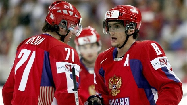 Two young superstars, EVGNEY MALKIN (71) and ALEXANDER OVECHKIN (8), will be actively seeking a Russian restoration of power at the Olympic ice hockey tournament in Vancouver this February.