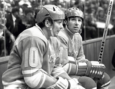 The top two point-getters in the history of the Soviet Union side by side --- Dynamo Moscow's ALEXANDER MALTSEV (10) and CSKA Moscow's VALERY KHARLAMOV (17).