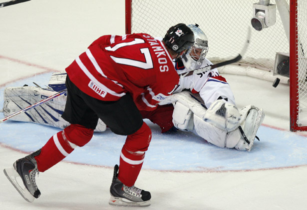 STEVE STAMKOS scored his second goal of the game for Canada at the expense of MARTIN PRUSEK of the Czech Republic at the 2009 IIHF World Championships in Switzerland. Canada defeated the Czechs 5-1 in the qualification round match.
