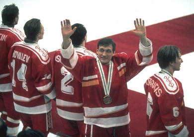 The Unified Team's EVGENY DAVYDOV, credited with being the first player off the bench at the infamous Piestany Punch-Up in 1987, waves to the crowd at the 1992 Winter Olympics in France. Three Unified Team players --- Davydov, Igor Kravchuk and Dmitri Mironov --- joined NHL clubs immediately after the Albertville Games. 20 of 23 Unified Team members ultimately skated in the National Hockey League.