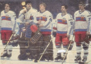The national ice hockey team of EAST GERMANY earned the right to participate at both the 1980 and 1984 Winter Olympic Games. On each occasion, the East German authorities declined to field a representing team. Above, the Deutsche Demokratische Republik on their final appearance at a major international event --- the A pool of the 1985 IIHF World Championships in Prague.