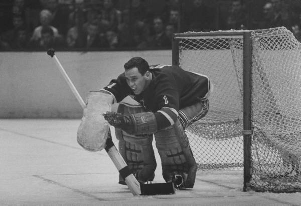 JACK MCCARTAN tending goal for the New York Rangers at Madison Square Garden in the early 1960s. Two hallmarks of the era in which McCartan minded the nets were few NHL goaltending gigs and no facemasks.