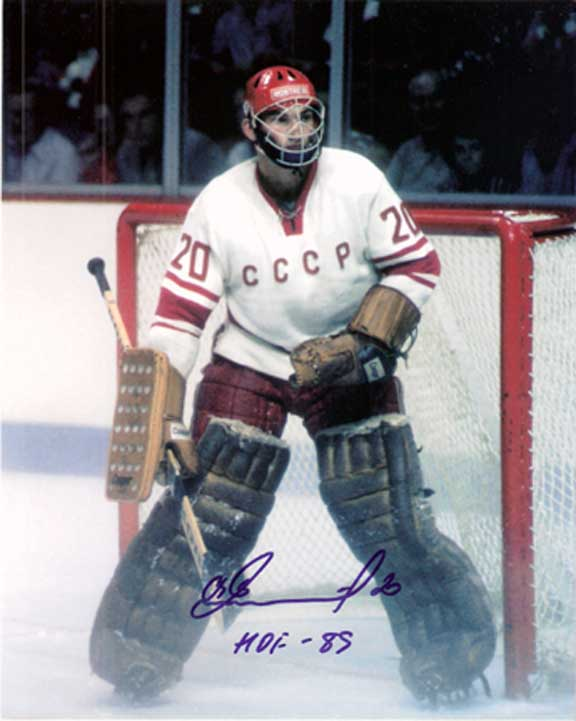 "19-year-old Soviet puckstopper VLADISLAV TRETIAK stood out for several reasons at the 1972 Sapporo Games. Among those was the revolutionary ""birdcage"" facemask that was part of the USSR goalie's gear in Japan."