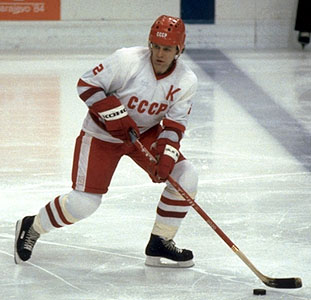 Defenseman VYACHESLAV FETISOV finished his career the second leading scorer all-time for the powerhouse Soviet Union national team at the Winter Olympic Games. From his three Olympic appearances ('80, '84, '88), Fetisov earned two gold medals as well as one silver. In the summer of 1989, Fetisov was granted permission by Soviet authorities to skate for the New Jersey Devils in the National Hockey League.