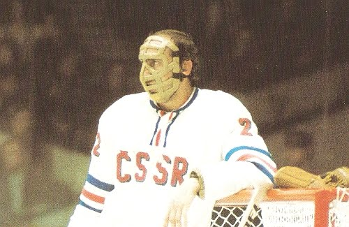 JIRI HOLECEK (2) is easily one of the most accomplished goaltenders in the history of international hockey. Holecek captured three titles ('72, '76, '77) at the annual IIHF World Championships for Czechoslovakia and was chosen to the media All-Star team five times ('71, '72, '73, '76, '78).