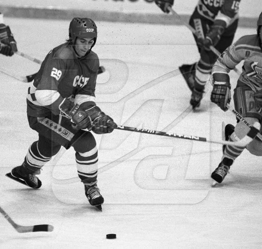 ALEXANDER KOZHEVNIKOV (29) scored the goal that gave the Soviet Union their sixth set of Olympic gold medals for ice hockey. Kozhevnikov, who collected another gold medal at the Calgary Games in 1988, played briefly in the West for the Durham Wasps in Great Britain as well as AIK Stockholm in Sweden.