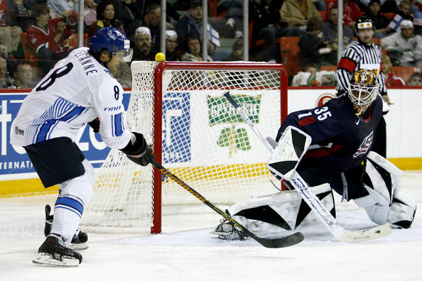 Finland's TEEMU SELANNE (8) is Finland's all-time leading scorer at the Winter Olympic Games. Here, Selanne is stoned by United States netminder ROBERT ESCHE at the 2008 IIHF World Championships in Halifax.