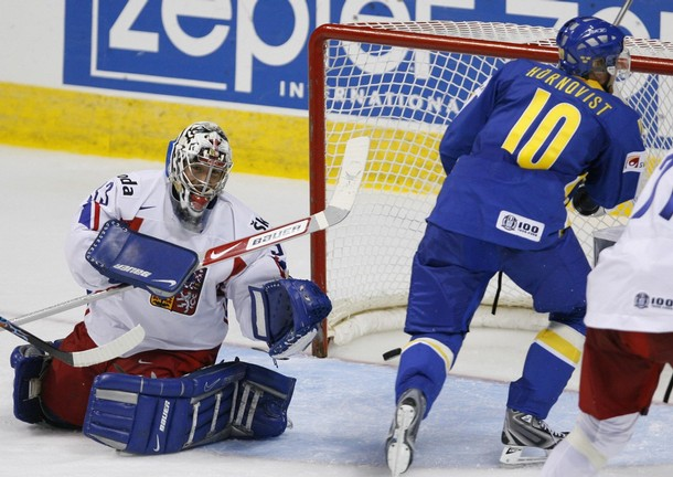 Sweden's PATRIC HORNQVIST shoots past Czech Republic goalkeeper MILAN HNILICKA to open the scoring in the quarterfinals of the 2008 IIHF World Championships. Sweden defeated the Czechs 3-2 in overtime.