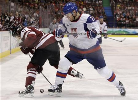 Slovakia's LUBOS BARTECKO (23) of BK Farjestad Karlstad battles for the puck with veteran Latvian international ALEKSANDRS NIZIVIJS (17) of Dynamo Riga in Vancouver. (AP photo)