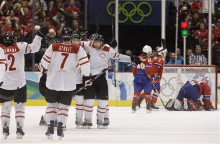Blindenbacher's power play goal gave Switzerland a brief lead roughly mid-way through the third period. (AP photo)