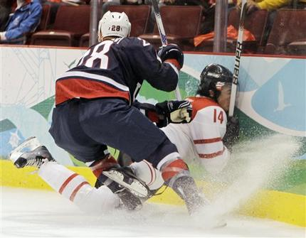 United States defenseman BRIAN RAFALSKI (28) sends Switzerland's ROMAN WICK (14) face-first into the boards at the 2010 Winter Olympic Games in Vancouver. (Julie Jacobson/AP)