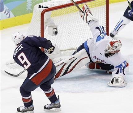Parise's third goal of the Vancouver Games gives the United States an early, albeit surprising, 2-0 lead against Finland in the semifinals at the 2010 Winter Olympics. The goal is Parise's eighth career for the United States at a major international event. (Julie Jacobson/AP)