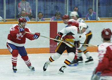 CANADA and WEST GERMANY compete at the 1988 Winter Olympic Games in Calgary.