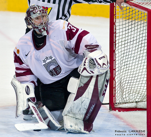 Veteran international goaltender EDGARS MASALSKIS (31) will be key to any success (or failure) experienced by coach OLEGS ZNAROKS' Latvian squad at the 2010 Winter Olympic Games in Vancouver.