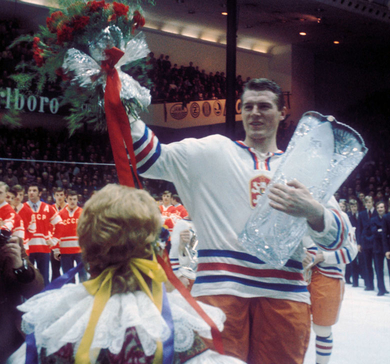FRANTISEK POSPISIL, defenseman and captain of the Czechoslovakia national team, representing the title-winning host nation at the medal ceremonies for the 1972 IIHF World Championships in Prague.
