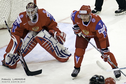 Goaltender ILYA BRYZGALOV (30) of the Phoenix Coyotes as well as Salavat Yulayev Ufa defenseman DMITRI KALININ are two players Russian coach VYACHESLAV BYKOV will count on to help implement a Russian Restoration for ice hockey at the Winter Olympic Games. 