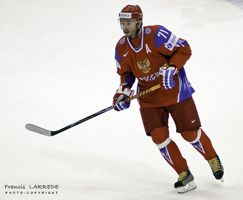 ILYA KOVALCHUK (71), recently traded from the Atlanta Thrashers to the New Jersey Devils in the National Hockey League, will be looking to help Russia lift its first-ever Olympic championship. Kovalchuk (25 go, 52 pts) stands in second on Russia's all-time chart, five points behind Alexei Yashin, for scoring at major international tournaments.