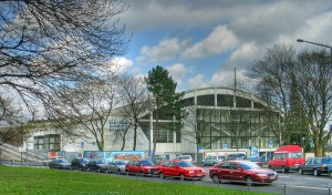 The old EISSTADION AN DER LENTSTRASSE, the former home of eight-time champion German ice hockey club, DIE HAIE von KOELN. Seven of the Sharks' eight titles were captured during their years at the Lentstrasse Eisstadion.