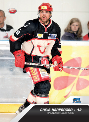 CHRIS HERPERGER, who broke into professional hockey with the Hershey Bears in the American Hockey League at the tail end of the 1994-95 season after completing junior, finished joint top goal-scorer for the 2010 DEL playoffs on 7 goals with the Augsburg Panthers' American forward CHRIS COLLINS. (playercards.com photo)