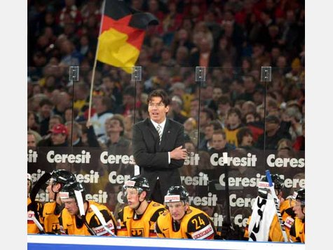 Germany national team head coach UWE KRUPP collected what was, by far, his most significant Sieg; it has been 17 years since the Germans last defeated the Americans (Dortmund, 1993) at the annual IIHF World tournament. (DPA photo)