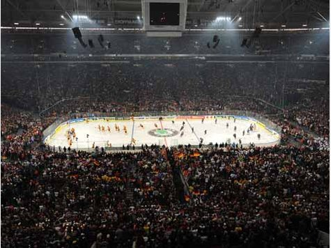 The prelude to drop of the puck for the opening game of the 2010 International Ice Hockey Federation World Championships --- the UNITED STATES versus host nation GERMANY from the converted soccer stadium, the VELTINS-ARENA, in Gelsenkirchen. (DPA photo)