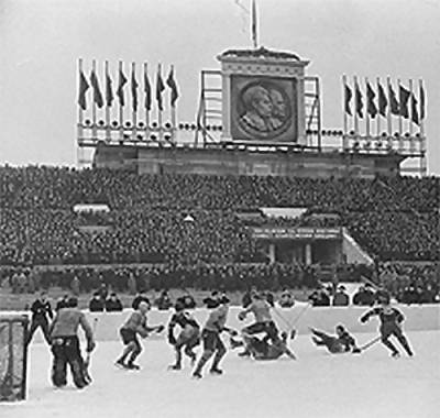 March 5, 1957 : A reported 55,000 converge at the Central Lenin Stadium in Moscow to witness the Soviet Union and Sweden skate to a 4-4 deadlock on the final day of the annual IIHF event. The Soviet Union hosted a further three World Championships (1973, 1979, 1986) and never failed to win a contest on home ice (28 games) thereafter. (rtvslo.si photo)